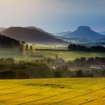 Panoramatická fotografie Saské stolové hory Lilienstein od M. Raka